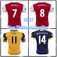 Wholesale 2016 Top quality Arsenal home Away RD Jerseys WILSHERE OZIL WALCOTT RAMSEY ALEXIS jerseys