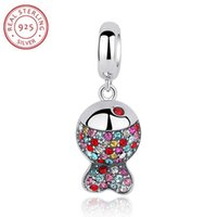 Wholesale 3pcs Authentic Sterling Charm Beads Pendant Fit Bracelet Bangle Necklace With Multi colored Crystal Rhinestones Clown Fish Jewelry