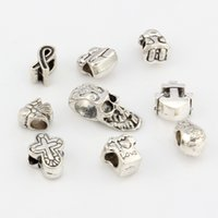 17mmx14mm angels skulls - Hot Antique Silver Alloy Mix Angel Skull Cross Anchors Etc Big Hole Spacer Beads Fit European Bead Bracelet