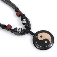 Wholesale New Vintage Yak Bone Pendant Tai Chi Yin Yang Wooden Beads Necklace Rope Chain Fashion Jewelry For Men Women