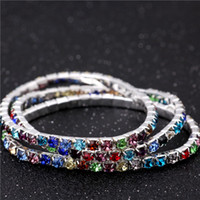 Wholesale New Sparkly Crystal Stretch Bangle Row Wedding Bracelets Bridal Jewelry Multi Color Bracelet for Bride Woman Party Evening Cheap
