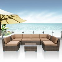Wholesale Outdoor Furniture Complete Patio Cushion Wicker Rattan Garden Corner Sofa Couch Set Set Outdoor Furniture Sofa Set Garden table chair