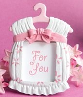 Wholesale Mini Baby Clothing Baby Theme Resin Photo Frame Wedding Favor Bridal Baby Shower Gifts pink and blue Baby Cloth