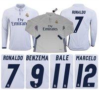 Wholesale NEW Best Quality Real Madrid long sleeve soccer jerseys Football soccer shirts Cristiano Ronaldo Bale James Kroos Uniform shirts
