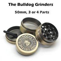El 50mm Bulldog Molinillos Tabaco triturador 3 piezas 4 piezas de la hierba de la especia de la trituradora de oro de la hierba molino de alta calidad de metal Molinillos