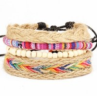 Cheap Handmade Braided Multi Layers Vintage Woven Rope Woven Leather Wood Beads Wrap Bangle Bracelets For Men Women HZ