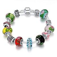 Wholesale Hot Women fashion silver padola bracelet European Bead Charm Bracelet Glass Crystal Beads Jewelry Bracelets Bangles