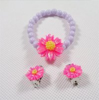Wholesale NEW Kids Girls Mix Colors Flower beads Earrings Bracelet clip on Earrings Princess Party Decorations Gift Promotion Fast S206
