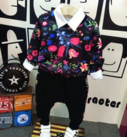 Wholesale Cool Shirts Collar Style - 2016 Autumn Children Boys Fashion Flowers Printed Hoodies+ Pants +Shirt 3 pcs Outfits Kids Boy Cool Floral Set Clothing B4251
