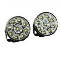 Wholesale 2X Cool White Car Auto Round Leds LED Daytime Running Light v DC Car DRL Fog Lamp