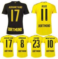 Wholesale 2016 NEW Borussia Dortmund home away REUS Mkhitaryan AUBAMEYANG WEIGL PULISIC Foot Maillot Football Borussia Dortmund Jersey shirt
