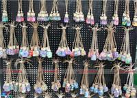 Wholesale 50pcs ml Car hang decoration Ceramic essence oil Perfume bottle Hang rope empty bottle random colors styles D906