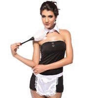 adult aprons - Excellent Quality Sexy French Maid Costume Deluxe Adult Womens Strapless Servant Costume Halloween Fancy Apron Maid Dress Outfits W202807