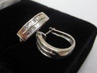baguette diamond earrings - Small Solid k White Gold Baguette Natural Diamond Hoop Huggie Earrings CT