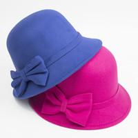Prezzi Wool hat-A004 signore Vintage Fascinator cappello di lana di lana Piccolo signora di bowknot cappello di imitazione di moda commerciale I cappelli pescatore benna