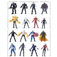 16pcs / set Capitaine America 3 Figurines d'action de la guerre civile PVC Figurines d'homme de Vengeur Mannequin d'Ant-Man Falcon Spiderman Bucky Vision Poupées de modèle