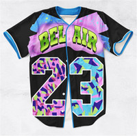 Wholesale 2 Colors Real USA size Custom made Bel Air Fresh Prince D Sublimaiton Print Baseball Shirt plus size