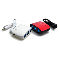 Wholesale 2Pcs With Switch One in Three Car Cigarette Lighter Dual USB Power Adapter Triple Car Charger White and Red Output W