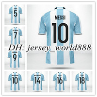 argentina home jersey - Top Thai quality Argentina home soccer jersey new MESSI AGUERO DI MARIA HIGUAIN away football uniform embroidery shirt