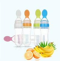 Wholesale Infant Baby Silicone Feeding With Spoon Feeder Food Rice Cereal Bottle Colors