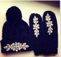 achat en gros de womens gants bonnet tricotés-Mode féminine chaud Bonnet Gant Sets Womens Hat Set avec strass Casquette avec accessoires