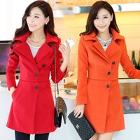 Wholesale 1 pecs New Fashion Winter Blends Long Winter Coat Outerwear Breasted Women Coat Wool Overcoat Drop shipping