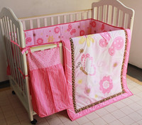 Wholesale 8Pcs Baby bedding set Crib bedding set Embroidered pink butterfly Cot Bedding set Quilt Bumper Mattress Cover BedSkirt Urinebag