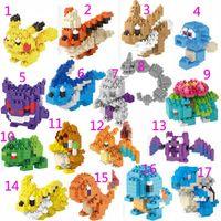 Wholesale 17 Styles Poke Toys CM Miniature Diamond Building Blocks Poke Go Figure D Minifigures Bricks Education DIY Children Toy