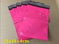 achat en gros de sacs poly 25-25 * 35 + 4cm 100pcs Fourniture d'usine --- Poly mailer / couleur rose poly mailing enveloppe / sac post poly / sacs de couleur rose mailing
