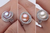 band wife - Elegant silver freshwater pearl ring for women fashion k white gold plated ring white pink purple quality gift for wife