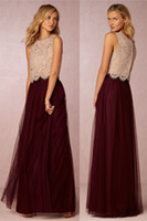 Wholesale 2016 long burgundy bridesmaid dresses lace top and tulle skirt dresses for wedding wedding guest dresses party dresses