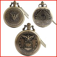 air force watches - Bronze United State NAVY AIR FORCE COAST GUARD pendant pocket watch fob locket necklaces quartz watch clocks women men Christmas gift