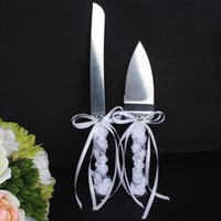 stainless steel cake knife - Wedding Cake Server Stainless Steel Knife Set Cutter Gift Box Bridal With Bowknot Rhinestone Silk Ribbon Lace Flowers