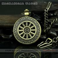 Men's antique steel wheels - MINGEN SHOP Wheel Flower Pattern Round Antique Pocket watch men Mechanical watch Bronze color J200 watch