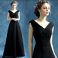 Wholesale Sexy Black Elegant full Length Cheap price Gowns Ruffle chiffon A line V neck Prom Party Formal Evening Wear Dress