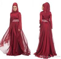 beaded hijab cap - Burgundy Chiffon Formal Long Maxi Lace Appliques Evening Dresses With Hijab Long Sleeve Beaded Pleated Layered Ruffle Arabic Muslim Dre