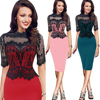 Wholesale Womens Elegant Vintage Pinup Retro Floral Lace Peplum See Through Mesh Patchwork Party Club Bodycon Fitted Dress