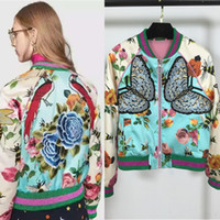 Wholesale Luxury New Autumn Runway Embroidery Jacket Women Baseball Floral Bird Butterfly Coats Outwear Bomber Jacket HLV S216