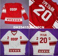 Precio de Maillot olímpico rusia-Edición de lujo # 20 Vladislav Tretiak 1980 CCCP Rusia JERSEY, Rusia Camiseta de hockey sobre hielo olímpica Red White Mens Stitched jerseys