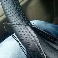 Wholesale 1PCS DIY Car Steering Wheel Cover With Needles and Thread Genuine Artificial leather Gray Black Car Steering Wheel Protects