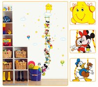 bathroom stories - Large Size Mickey Mouse and Donald Duck Height Sticker Wall for Kids Room Growth Chart Stadiometer Story Height Ruler