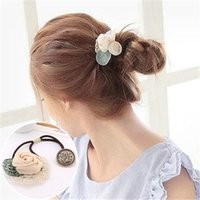 atificial flowers - Korean Style Hair Band with Bow Atificial Peal Hair Rope Handmade Flower Hair Ring and Metal Button Pony Tails Holder per