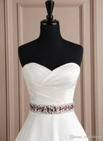 Wholesale Crystal Beads Bow Handmade Flowers Bridal Sash Belts Rhinestone Custom Made Charming Sash Bridal Accessories Cheap Long