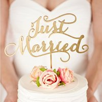Wholesale quot Just Married quot Rustic Wedding Cake topper Engagement Wooden cake topper Wood letters Cake Decorations Gifts Favors Supplies