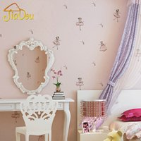 ballet wallpapers - 3D Stereo Cartoon Ballet Princess Children Non woven Wallpaper For Kids Room Bedroom Background Wall Covering Papel De Parede D