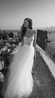 Cheap Elegant Bohemian Beach Wedding Dress with Lace Greek Bride Gowns 2017 Beaded Pearls Romantic Grecian Goddess Brides Retro Spring Beach Gowns