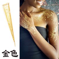 Wholesale India s Gold Glitter Henna Cone One day Temporary Tattoo Ideas for bride Henna party commercial speech disposable pen painted