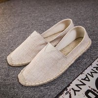article shoes - Factory Direct Selling Summer Linen Fisherman Flax Men And Women Solid Color Canvas Casual Shoes Tide Straw Plaited Article D