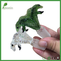 acrylic smoking pipe - Green And Transparent Clear Cobra Double Head Snakes Glass Bowl mm mm Male Joint Smoking Bowls For Glass Water Bongs and Smoking Pipes