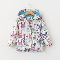 Wholesale 2016 Kids Boys Girls Long Sleeve Graffiti Animals Print Jacket Coat Hooded Outerwear kids Cotton padded jacket